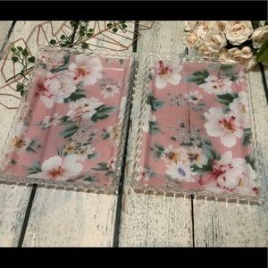 2 Pink floral Plastic trays tropical flowers green